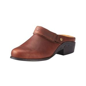 Ariat Brown Leather Sport Mules with Heel Strap